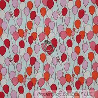 BonEful Fabric FQ Cotton Quilt Blue Pink White Baby Bunny Balloon Birthday Girl