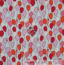 BonEful Fabric Cotton Quilt VTG Blue Pink Girl Baby Bunny Balloon Birthday SCRAP