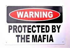 PROTECTED BY MAFIA RETRO METAL TIN SIGNS vintage cafe pub bar garage shop secure