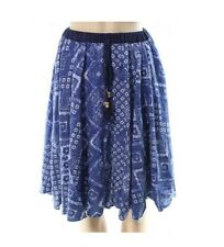 Stevie & Lindsay Pull-On Blue & Ivory Rayon Print Skirt Knee Length 3X Plus NWT