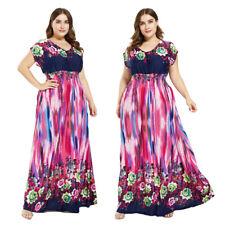 Women Boho Floral Maxi Long Dress Plus Size Evening Party Beach Holiday Sundress