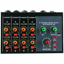 Mini 8 Channels Metal Mono Stereo Audio Sound Mixer with Power Adapter Cable