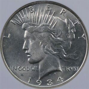1934 PEACE DOLLAR NGC MS 63 ALL WHITE WITH FULL LUSTER AND A VERY NICE STRIKE