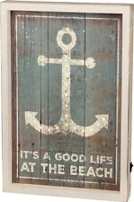 """Led Wood Box Light Up Sign~""""It'S A Good Life At The Beach""""~Anchor~Chic Shabby"""