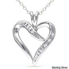 Fine Jewelry Diamond Women Fashion Accent Heart Pendant Necklace Gift Jewelry