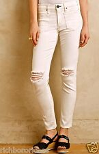 NWT Anthropologie McGuire ivory stretch Blown Out Knee Destroy Skinny Jean 26