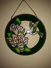 Hummingbird Suncatcher Very Colorful Green Yellow Round 6""