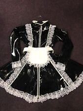 Misfitz schwarz PVC Vorhängeschloss Kragen Sissy Dienstmädchen Kleid 2 Wege Reißverschluss Größe 18