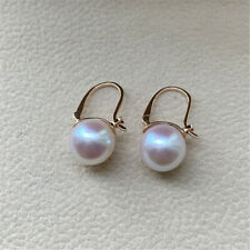 Gorgeous AAA++ 9-10mm Real natural Akoya white round pearl earrings 18k Gold
