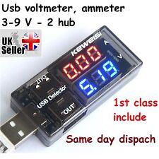 USB Corriente Tensión LED Indicador Probador Medidor 2 Hub Cargador médico 3V-9V 1st Reino Unido