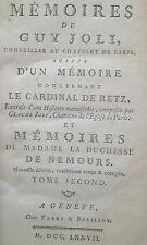 Joli 1777 mémoires Cardinal Retz Duchesse Nemours