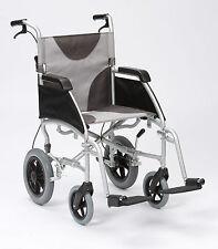 "Ultra Lightweight aluminium folding transit wheelchair with extra wide 20"" seat"