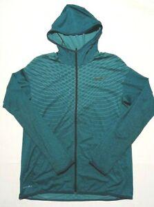 Men's Nike Running Shirt Size Large Blue 1/4 Zip Pullover Hoodie Dri Fit Hooded