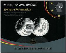 """20 Euro Silbermünze """"500 Jahre Reformation"""" 2017 A (PP) im Folder"""