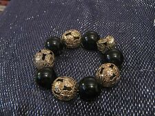 Lovely Bracelet with black & silver tone metal beads elasticated