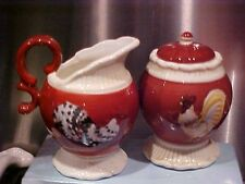 ROOSTER ~ ON PARADE ~ CREAM & SUGAR SET