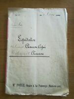 12 Aout 1905 Acte notarié - Liquidation Chauveau Cognée Cholet 16 pages