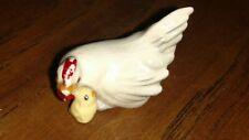 Vintage Hagen Renaker Monrovia hen with baby chick ceramic animal miniature