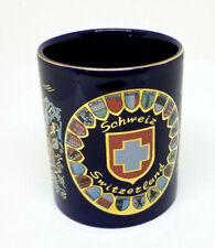 Switzerland Suisse Schweiz Porcelain souvenir Coffee Tea Mug Navy Gold