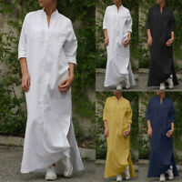 ZANZEA 8-24 Women Button Up Shirt Dress Side Slit Cotton Kaftan Long Maxi Caftan