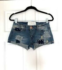 Dollhouse Patchwork Jeans Women's Blue Distressed Denim Cutoff Shorts Size 7