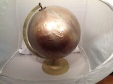 Vintage Globe Painted Gold With Raised Topography With Stand
