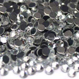 Clear Hotfix Iron On Glass Rhinestones Flat Back Crystals Diamante Gems