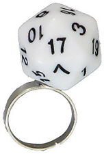 Adjustable d20 Dice Ring - White Metallic Dice Games GAMING SUPPLY BRAND NEW