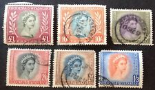 Rhodesia & Nyasaland 1954 6 X Stamps To £1.00 Used