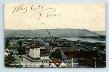 Dalles, OR - RARE c1908 AIR BIRDS EYE VIEW OF CITY & WATER - POSTCARD - R1
