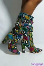 Multi Colors Women Snakeskin Leather Block Heel Pointed Over the knee high Boots