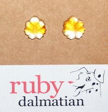 Vintage glass sterling post stud earrings Givre frosted leaf lemon topaz 4