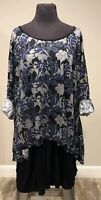 Woman Within Plus Size Navy Black Gray Tiered Tunic or Dress Size 3X Career