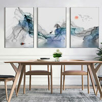 3 Piece Wall Prints - Abstract Sunrise Digital Art Watercolor Canvas Unframed