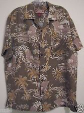 Caribbean Joe Large Rattan Bamboo Brownish Linen Cotton Hawaiian Camp Shirt