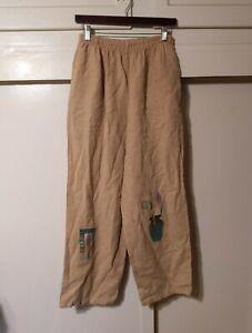 vtg PLAY ALEGRE Hand Painted Wearable Art 100% Linen Pants Size Medium/Large