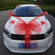 Kit Complet Décoration nœud Mariage rouge Voiture Mariés ruban tulle fleurs