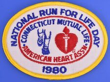 National Run for Life Day Connecticut American Heart 1980 Vintage Running Patch