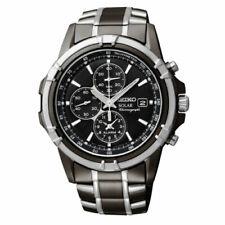 Seiko Men's Solar Chronograph Black Dial Two Tone Watch SSC143