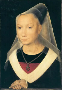 Oil painting hans memling - portrait of a young woman with Necklace ring canvas