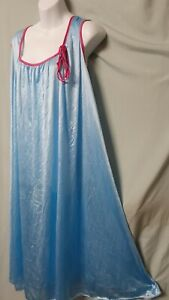 """Only Necessities Blue Pink Nightgown Calf Sleeveless  Large 54"""" BUST"""