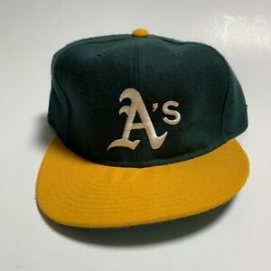 Vintage Oakland Athletics A's NEW ERA Fitted Wool Hat sz 7 3/8 90s  MLB Baseball