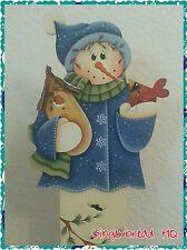 Hand Painted Wooden Standing, Snowman,  Christmas, Winter, Porch, Blue, Cardinal