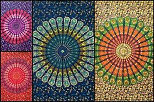 Peacock Mandala Poster Collage Tapestry Small Home Decor Cotton Fabric Indian