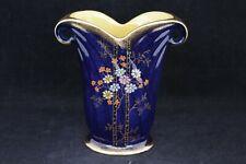 Cobalt Blue & Gold Crown Devon Fieldings Art Deco Vase With Enamel Florals