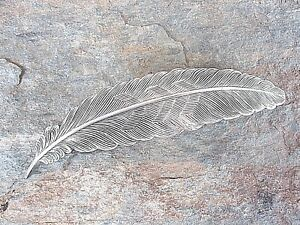 Feather Design Silver Plated Finish French Clip Hair Barrette 80mm Clip 6010S