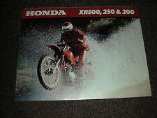 Nos Honda Xr 200 250 500 1980 Elsinor folleto de ventas de 8 Páginas Folleto Vintage