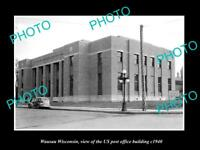 OLD LARGE HISTORIC PHOTO OF WAUSAU WISCONSIN US POST OFFICE BUILDING c1940