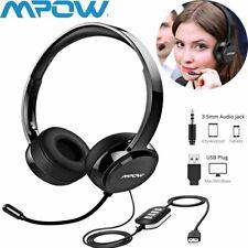 Mpow Headset Kopfhörer On Ear Stereo Mikrofon USB 3,5mm für PC Computer Skype DE