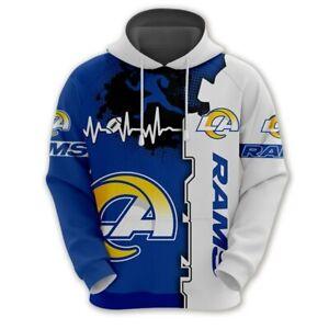 LOS ANGELES RAMS LA Hoodie Hooded Pullover Hoodies New Logo S-5XL Football Team